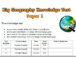 Big Geography Knowledge Tests for GCSE - Physical & Human AQA Specific