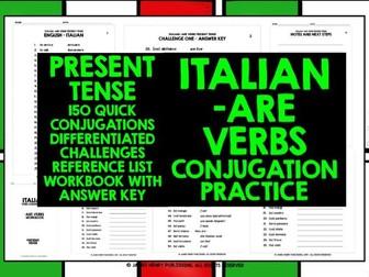 ITALIAN ARE VERBS PRESENT TENSE CONJUGATION DRILLS
