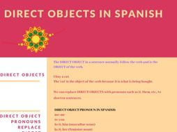Direct Objects Worksheet (for Spanish)
