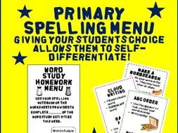 Primary Spelling Menu: Homework or Classwork