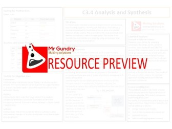 AQA C3.4 Analysis and Synthesis Revision Sheets