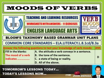 MOODS OF VERBS: 12 WORKSHEETS WITH ANSWERS