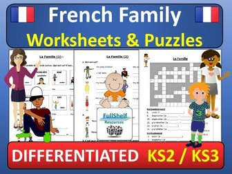 French Family (La Famille) Worksheets / Puzzles