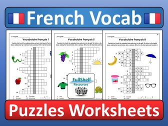 French Vocabulary Revision Worksheets