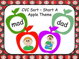 CVC and Rhyming with Short Vowel A - Apple Theme