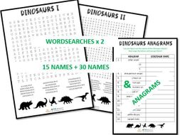 Dinosaurs Wordsearches + anagrams activity