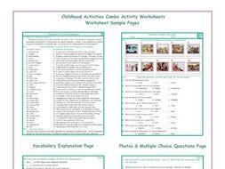 Childhood Activities Combo Activity Worksheets