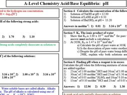 Acid Base Equilibria Ph Calculations By Polarity24 Teaching