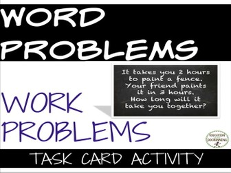 Work Problems Word Problems Task Card Activity for Problem solving