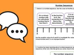Year 5 Number Sequences  Spring Block 2 Maths Discussion Problems