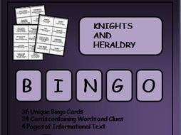 Reading Passages and Bingo - Medieval Knights and Heraldry