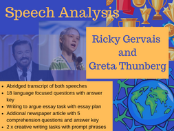 English speech analysis: Ricky Gervais and Greta Thunberg