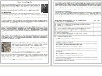 Charles Dickens Biography - Reading Comprehension Worksheet / Informational Text