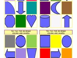 Colors and Shapes Tic-Tac-Toe or Bingo