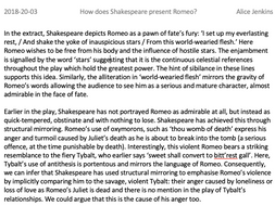 GCSE Romeo and Juliet Level 8/9 Exemplar Essay on presentation of Romeo