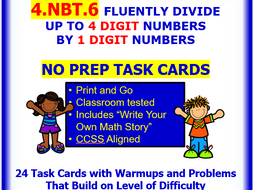 4.NBT.6 Math NO PREP Task Cards—Up To 4 DIGIT QUOTIENTS With 1 DIGIT DIVISORS