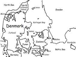 DENMARK - Printable handout with map and flag