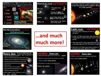 Space, solar system, stars, galaxies.