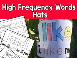 High Frequency Words Hats Kinder SET 1 CCSS RF K 3 C Sight Words