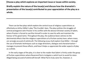 Higher English Model Essay: The Crucible (17/20)