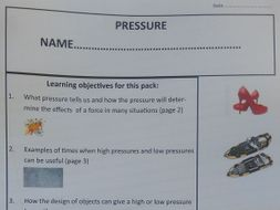 Pressure pupils work packfor common entrance and KS3