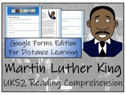 UKS2 Martin Luther King Reading Comprehension & Distance Learning Activity