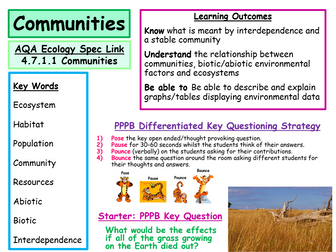 New AQA Ecology Specification- Communities, Abiotic and Biotic Factors- Powerpoint and Worksheets
