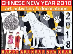 Chinese New Year 2018 colouring pages and art