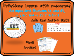 Equivalent fractions lesson (including simplifying, comparing and ordering)