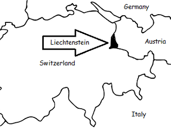 LIECHTENSTEIN - Printable handout with simple map and flag