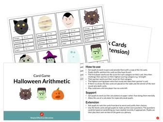 Halloween Arithmetic Card Game