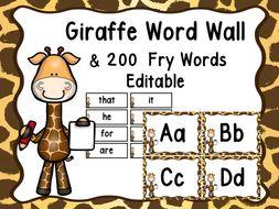 Giraffe Word Wall (Jungle Or Zoo)
