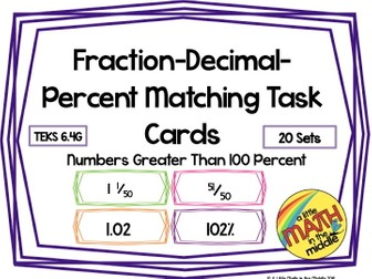 Fraction-Decimal-Percent Matching Task Cards