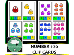 Number Clip Activity - Clip a Peg on the Matching Number - 1-20 Cute Preschool Resource