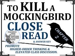 To Kill a Mockingbird Close Reading Worksheet - Chapter 2