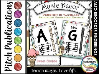 Alto Recorder Fingering Chart Posters v2 Black/Tan- Music Decor Sweet Shoppe