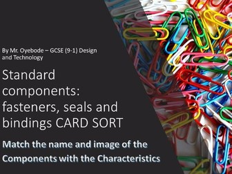 Standard components: fasteners, seals and bindings CARD SORT