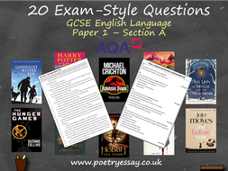 20 Exam-Style Questions – GCSE English Language Section A – Paper 1 (AQA)