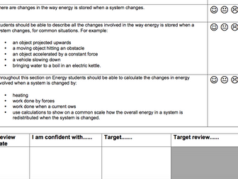 AQA Combined Science trilogy physics checklists