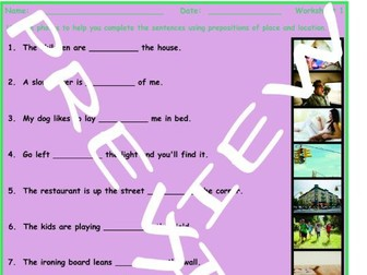 Prepositions of Place and Location 3 Photo Worksheet Set