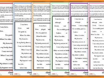 Autobiography Extended Writing Prompt Sheet