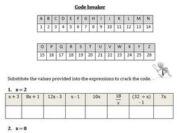 Equation of a straight line starter - substitution codebreaker