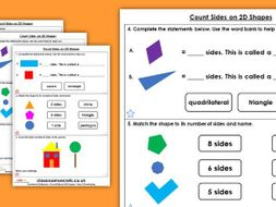 Year 2 Count Sides on 2D Shapes Spring Block 3 Maths Homework Extension