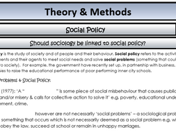 AQA Sociology - Year 2 - Theory & Methods - Social policy