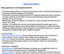 OCR RELIGIOUS STUDIES- Gender and Theology NOTES