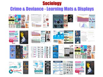 GCSE Sociology 'CRIME & DEVIANCE'  [Learning Mats/Displays: Research, Data, Evidence](15xA3 Posters)