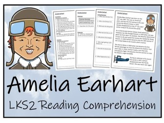 LKS2 History - Amelia Earhart Reading Comprehension Activity