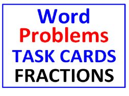 Word Problems Task Cards for Fractions WITH Lesson Plan