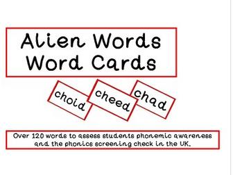 Alien Words Flash Cards