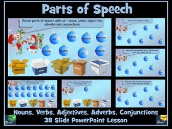 Parts of Speech PowerPoint - Christmas Themed